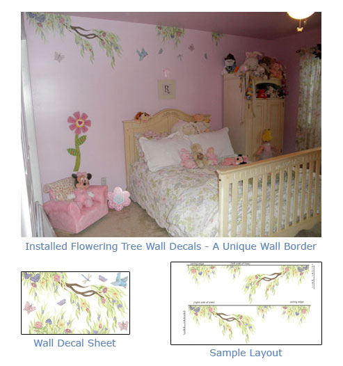 Floral Wall Border   Decals. Fun Floral Wall Border for Baby Girl Nurseries   Girl Rooms