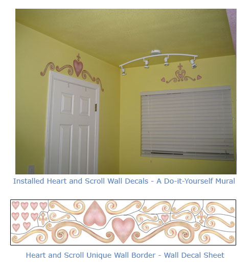 Heart and Scroll Border - Wall Decals