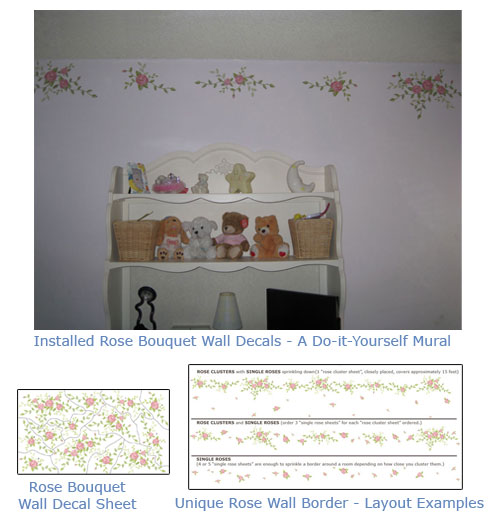 Rose Wall Art Border- Decals