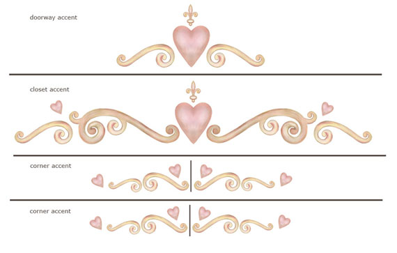 Heart Wall Border. Heart and Scroll Wall Art Border for Baby Girl Nurseries and Girl